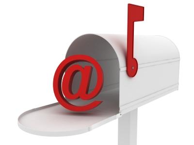 at symbol and mailbox